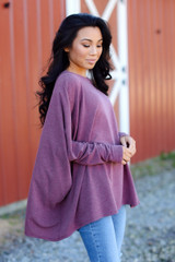 Oversized Knit Top in Wine Back View