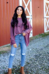 Wine - Oversized Knit Top Front View