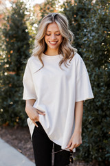 White - Distressed Boyfriend Tee from Dress Up