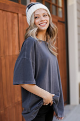 Distressed Boyfriend Tee in Charcoal Side View