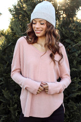 Blush - Model wearing a Waffle Knit Top with black pants