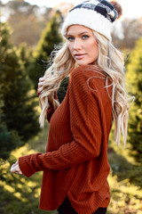 Camel - Dress Up model wearing a Waffle Knit Top with a beanie