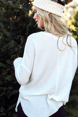 Back view of white waffle knit