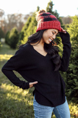 Front view of black waffle knit