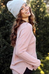 Blush - Dress Up model wearing a Waffle Knit Top with black pants
