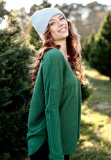 Side view of green waffle knit