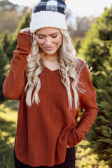 Camel - Model wearing a Waffle Knit Top with a beanie