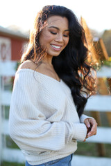 Taupe - Waffle Knit Top Side View