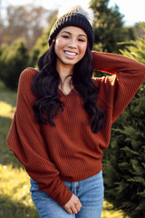 Camel - Waffle Knit Top