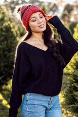 Black - Dress Up model wearing a Waffle Knit Top with a beanie