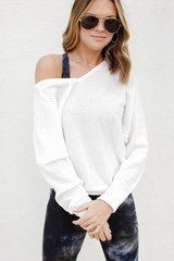 White - Model wearing a Waffle Knit Top with leggings