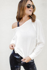 White - Dress Up model wearing a Waffle Knit Top with a leggings