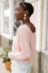 Waffle Knit Top in Blush Side View