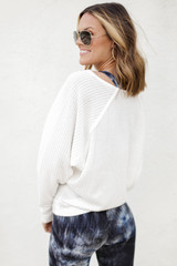 Waffle Knit Top in White Back View