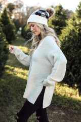 Side view of white fuzzy sweater