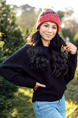 Black - Model wearing a Brushed Knit Sweater
