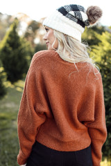 Dress Up Model wearing a camel Brushed Knit Sweater
