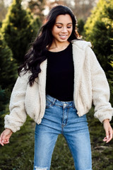 Dress Up model wearing a ivory Cropped Sherpa Jacket