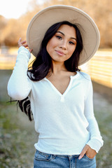 Front view of Ribbed Knit Top in white