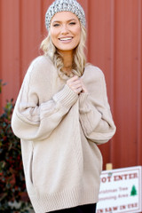 Taupe - Cable Knit Sweater Cardigan from Dress Up