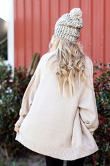 Cable Knit Sweater Cardigan back view