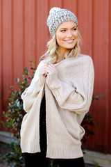 Dress Up Cable Knit Sweater Cardigan front view