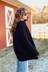 Cable Knit Sweater Cardigan side view
