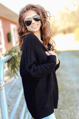Black - Dress Up model wearing a Cable Knit Sweater Cardigan