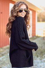 Dress Up Cable Knit Sweater Cardigan side view