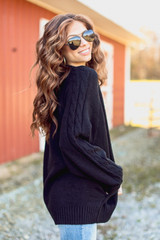 Dress Up Model wearing a Cable Knit Sweater Cardigan