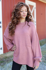 Mauve - Model wearing an Oversized Brushed Knit Sweater