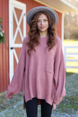 Mauve - Dress Up model wearing an Oversized Brushed Knit Sweater
