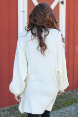 Oversized Brushed Knit Sweater in Ivory Back View