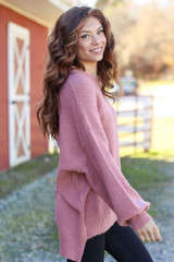 Oversized Brushed Knit Sweater in Mauve Side View