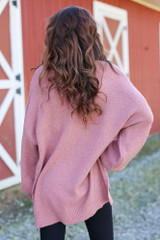 Oversized Brushed Knit Sweater in Mauve Back View
