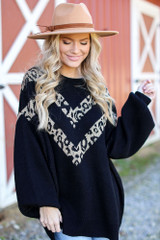Black - Oversized Leopard Sweater Tunic from Dress Up