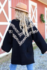 Oversized Leopard Sweater Tunic in Black Back View