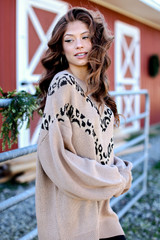 Taupe - Dress Up model wearing an Oversized Leopard Sweater Tunic