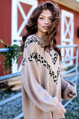 Oversized Leopard Sweater Tunic in Taupe Side View