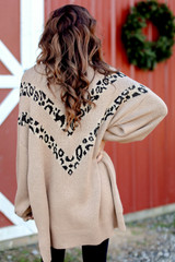 Oversized Leopard Sweater Tunic in Taupe Back View