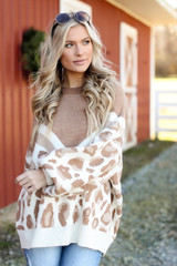 Taupe - Oversized Leopard Sweater