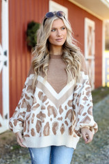 Taupe - Oversized Leopard Sweater from Dress Up