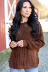 Brown - Cable Knit Sweater