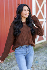 Brown - Cable Knit Sweater from Dress Up