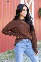 Cable Knit Sweater in Brown Side View