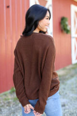 Cable Knit Sweater in Brown Back View