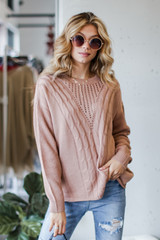 Mauve - Model wearing a Cable Knit Sweater