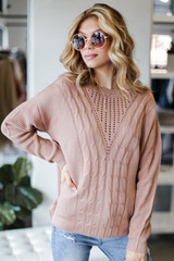 Mauve - Dress Up model wearing a Cable Knit Sweater