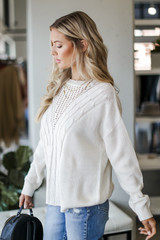Cable Knit Sweater in Ivory Side View