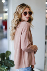 Cable Knit Sweater in Mauve Side View